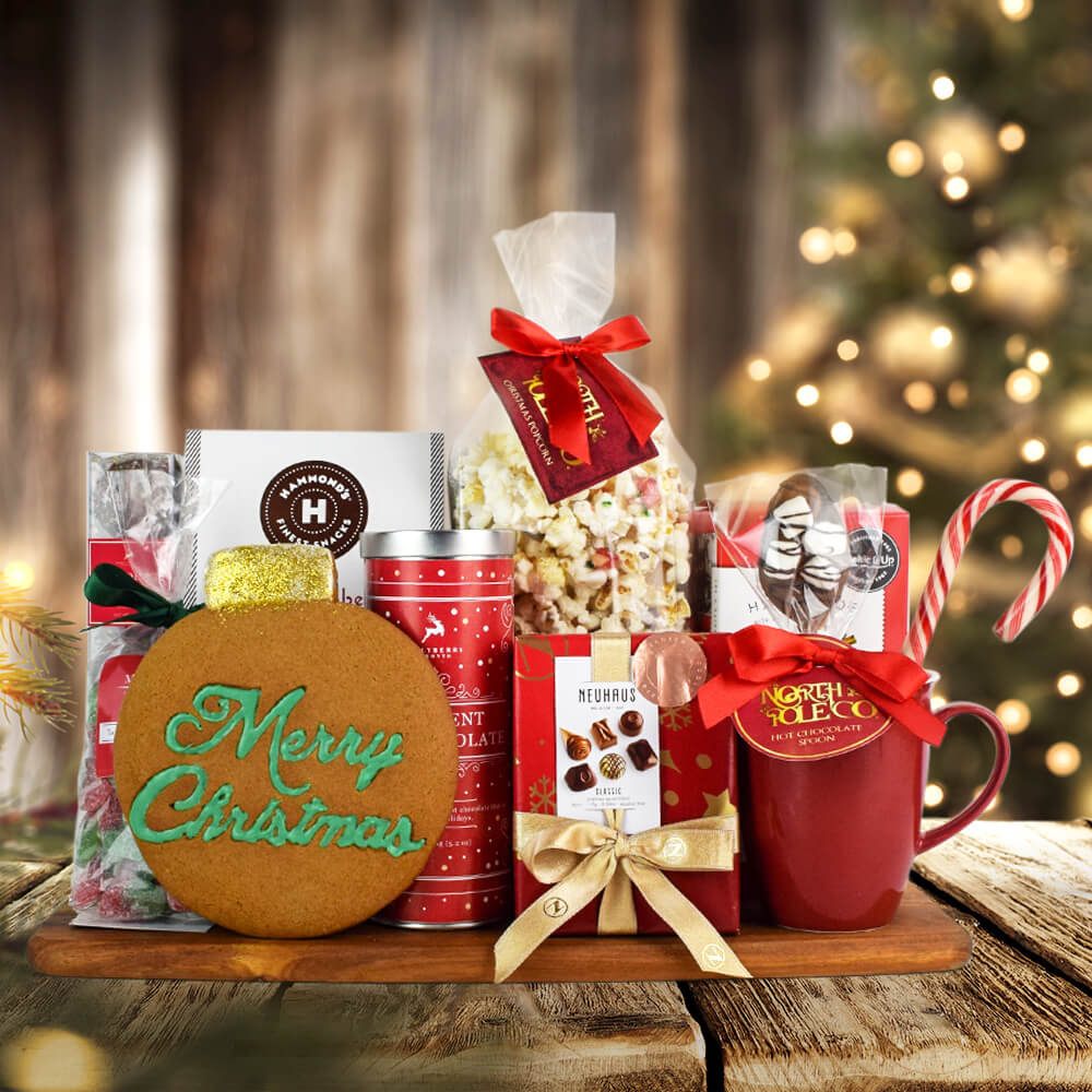 Merry Christmas Basket of Treats, Christmas Gift Basket, Hot Chocolate Gifts