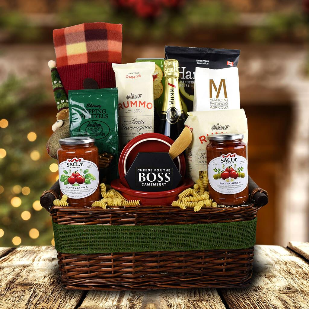 Packed With Pasta Holiday Champagne Gift Basket