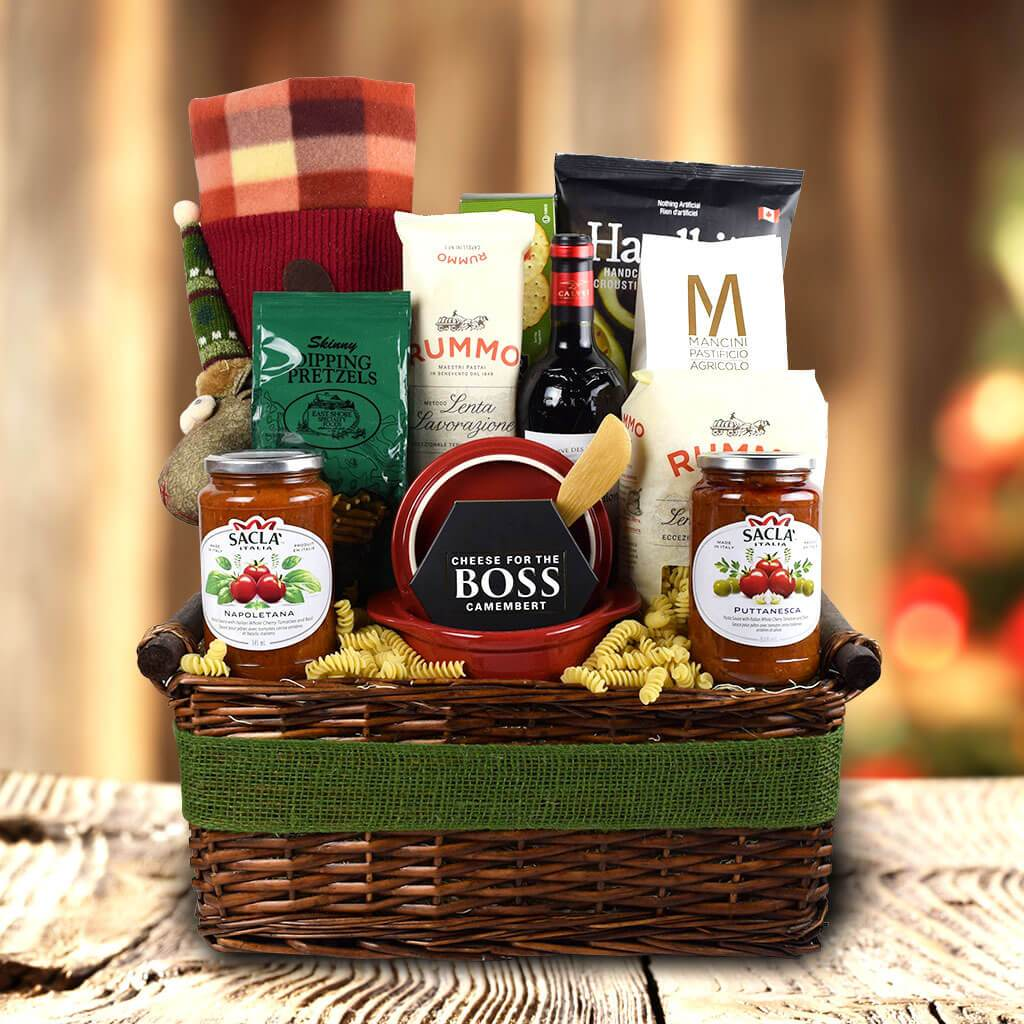 Packed With Pasta Holiday Wine Gift Basket