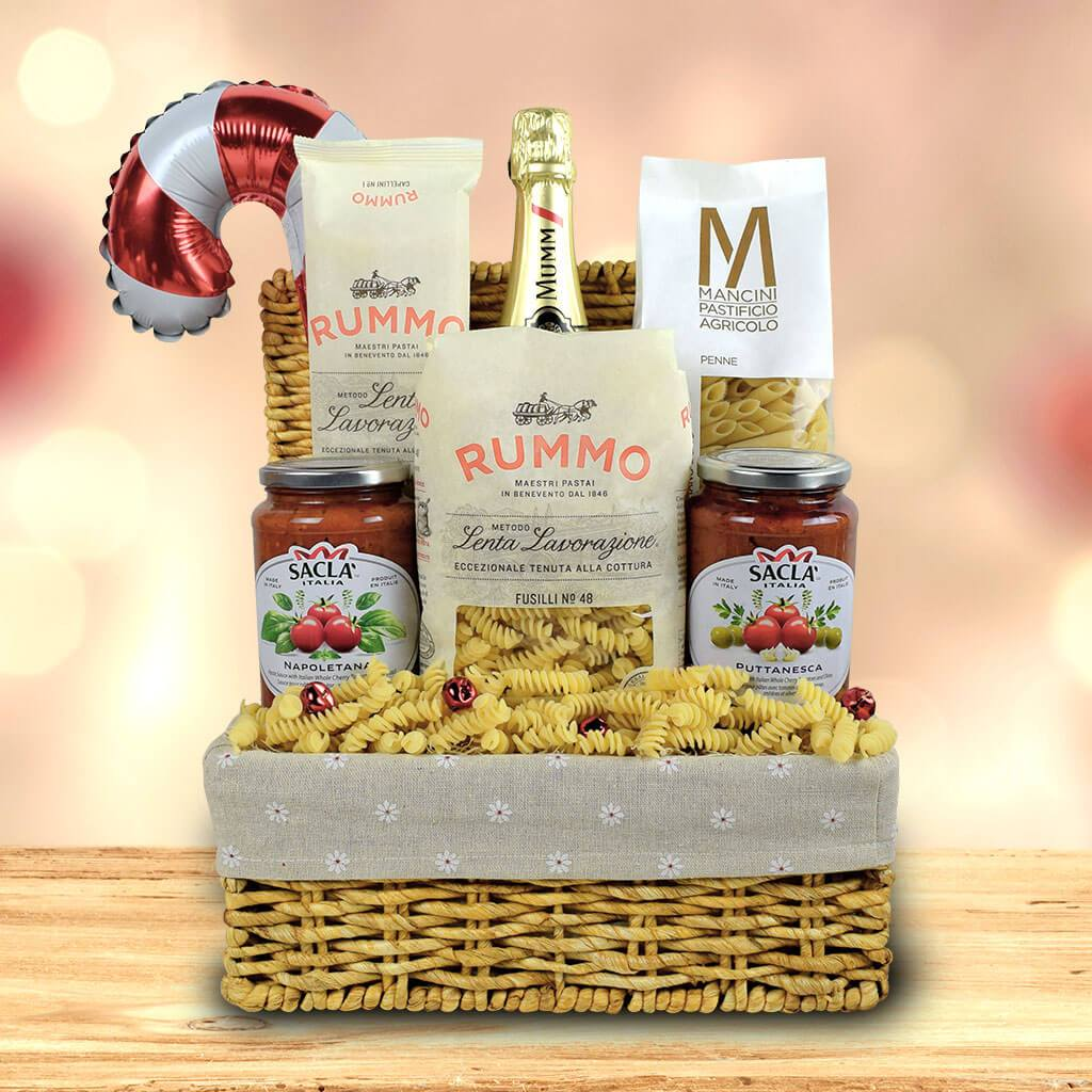 Pasta Extravaganza Christmas Champagne Gift Basket