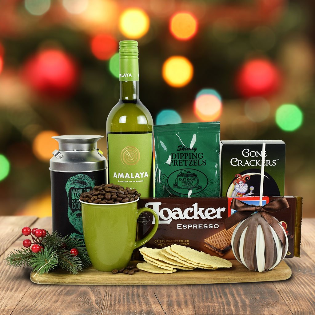 Santa's Warm Comforts Gift Basket With Wine