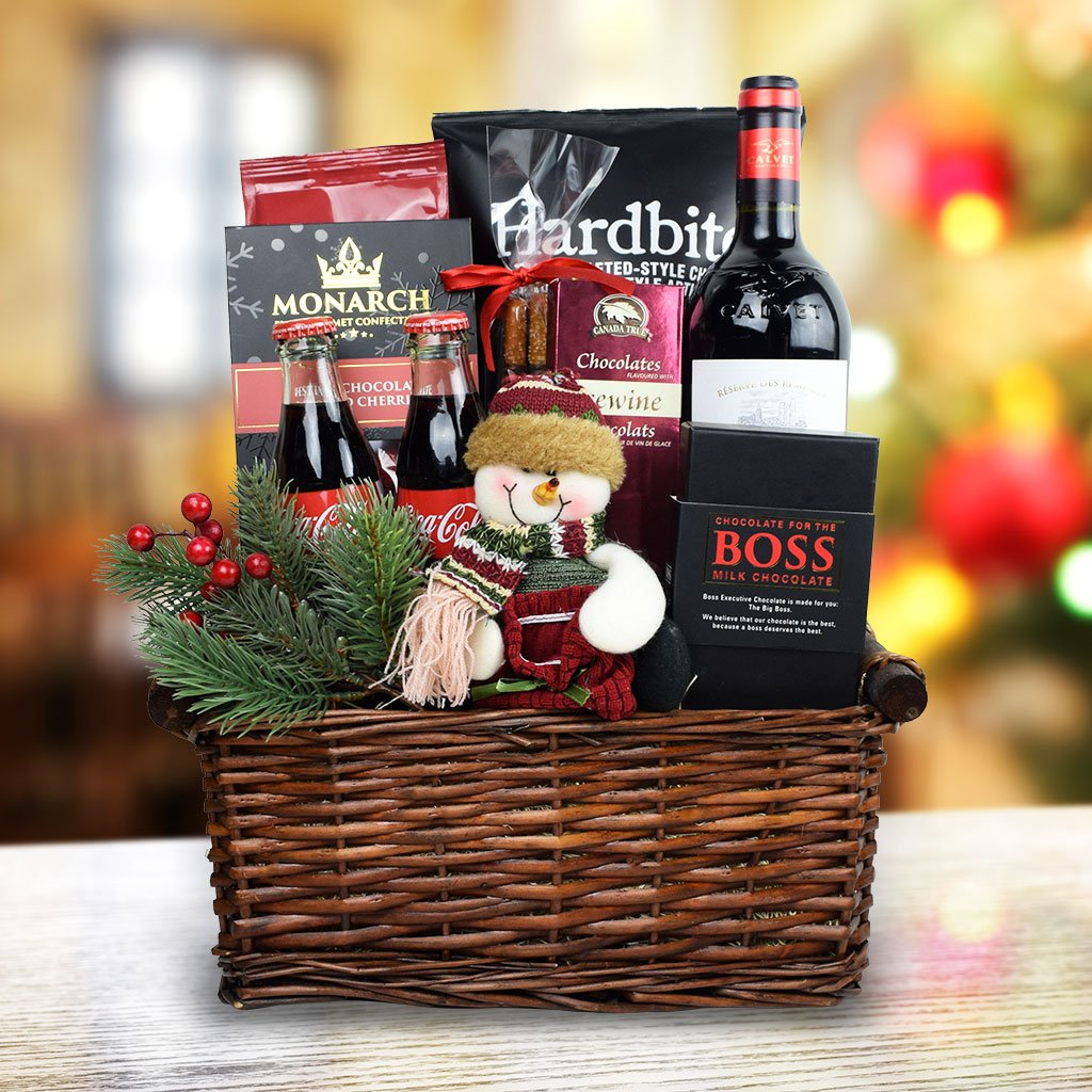 Snowman Delights Wine Gift Basket