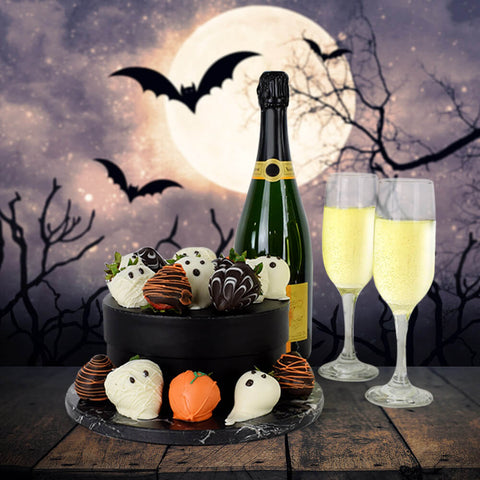 Spooky Halloween Chocolate Dipped Strawberries & Champagne, Halloween Gifts, Champagne Gifts