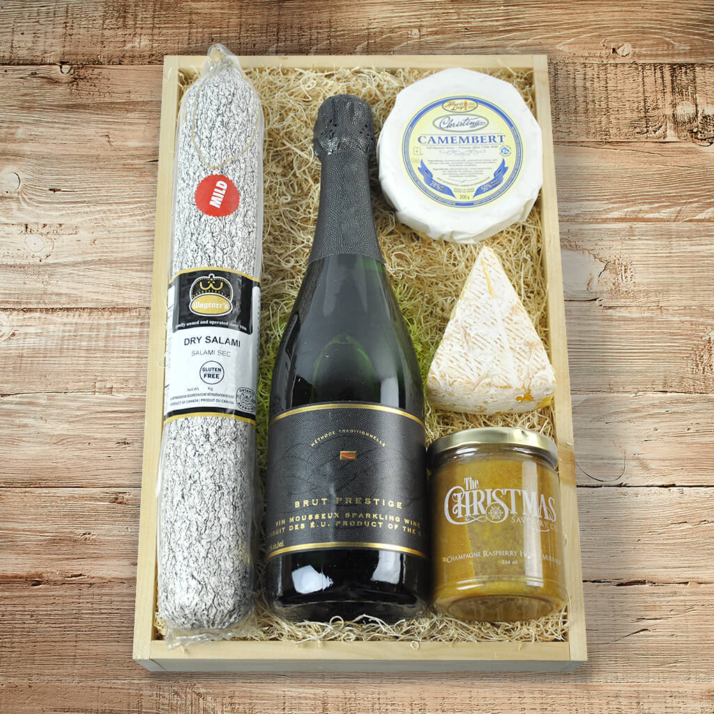 The Christmas Charcuterie and Champagne Gift Basket