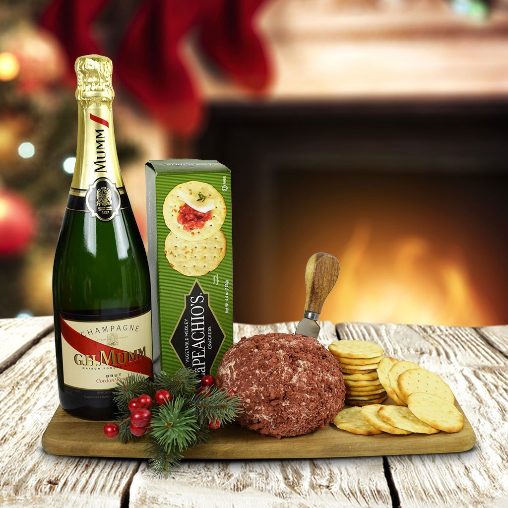 The Cheeseball, Crackers & Champagne Gift Set