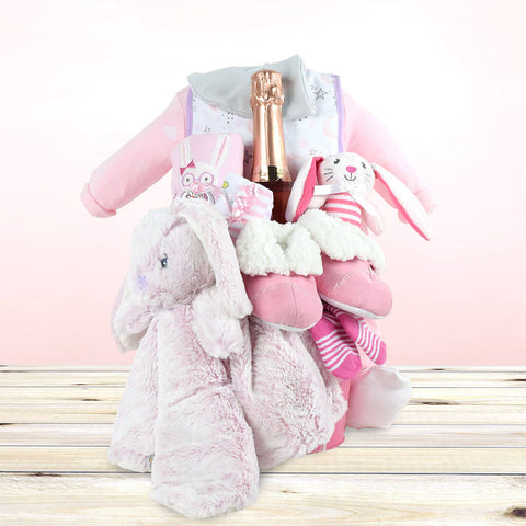 Welcome Home! Baby Girl Champagne Gift Basket