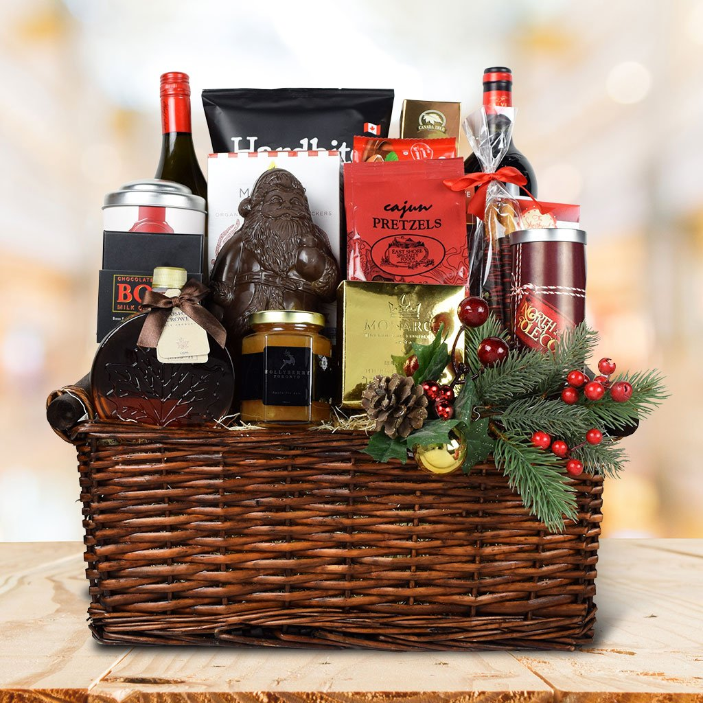 Wine & Holiday Treats Gift Basket