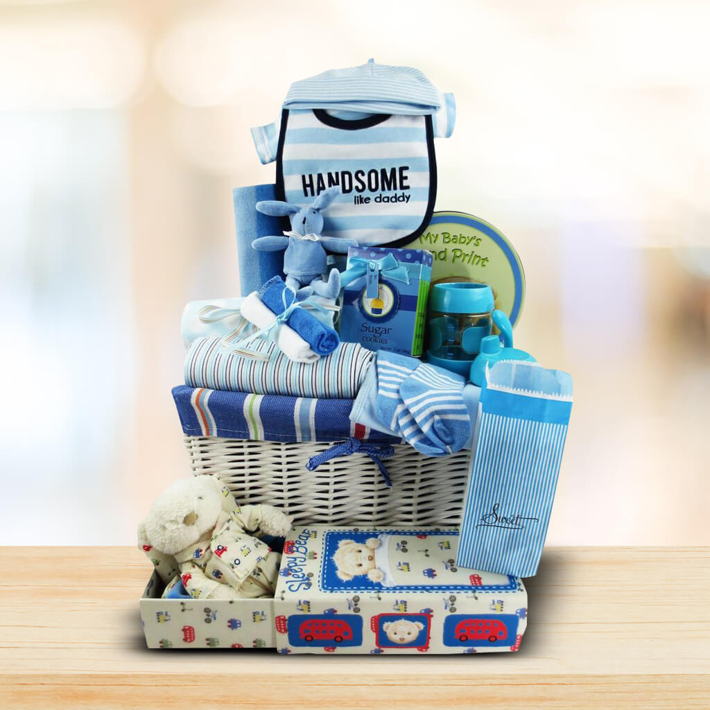 Blue Sleepy Bear Gift Basket