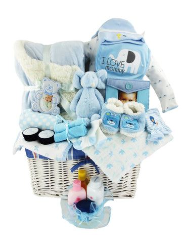 Soft & Snuggly Baby Boy Gift Basket