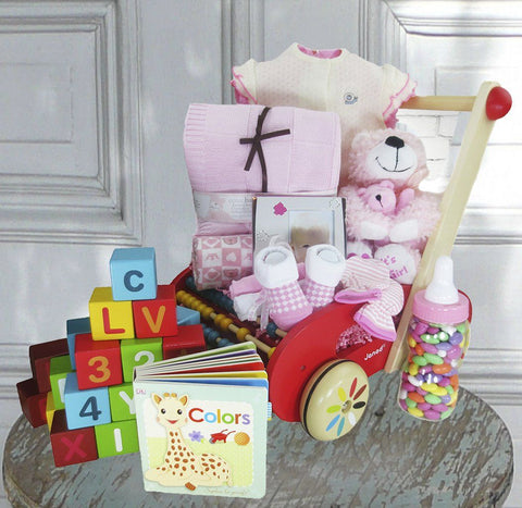 Baby Girl Baby Buggy Gift Basket