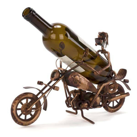 Biker Metal Wine Holder - Includes Wine!