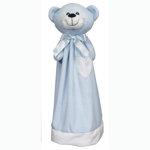 Embroidered Blue Bear with Blanket - Large