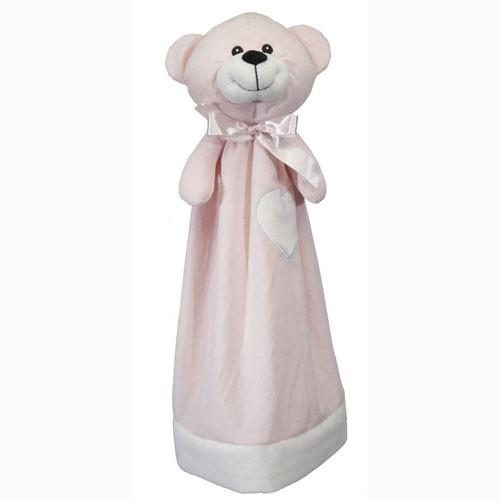 Embroidered Pink Bear with Blanket - Large