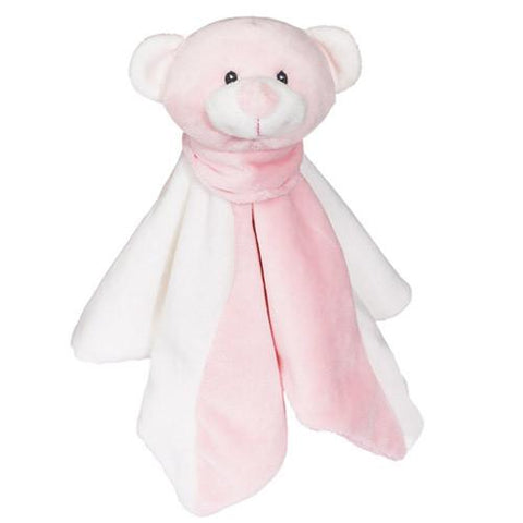 Embroidered Pink Bear with Blanket - Small
