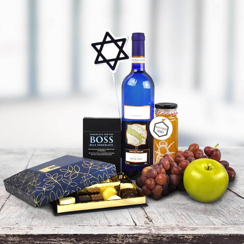 Gourmet Chocolates & Wine Hanukkah Gift Basket