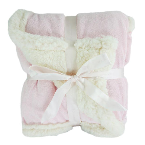 Embroidered Luxury Chamois Blanket - Pink