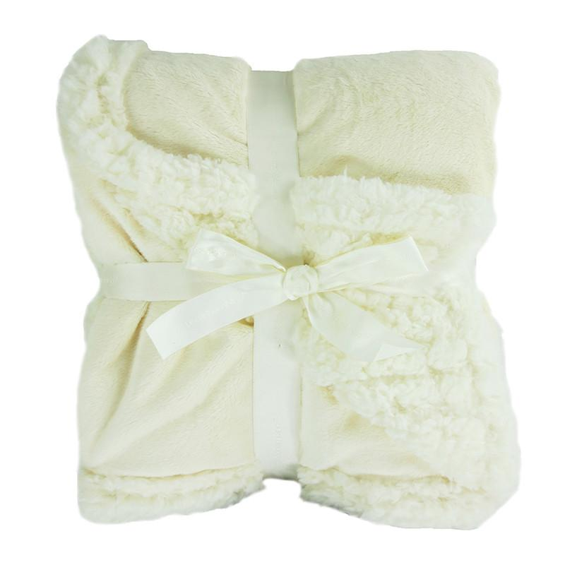 Embroidered Luxury Chamois Blanket - White