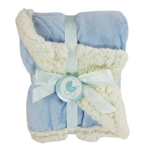 Embroidered Luxury Chamois Blanket - Blue