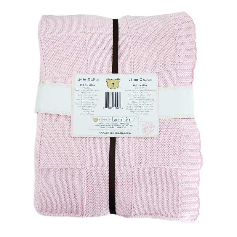 Embroidered Luxury Knitted Blanket - Pink