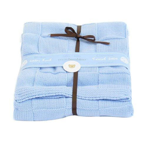 Embroidered Luxury Knitted Blanket - Blue