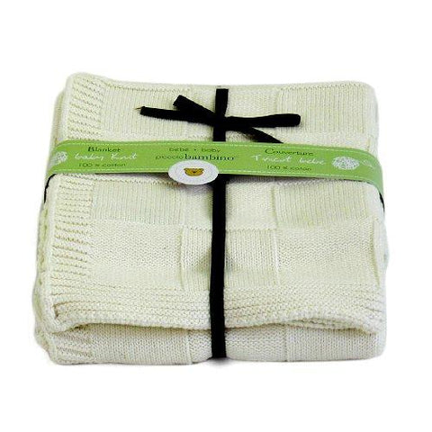 Embroidered Luxury Knitted Blanket - White
