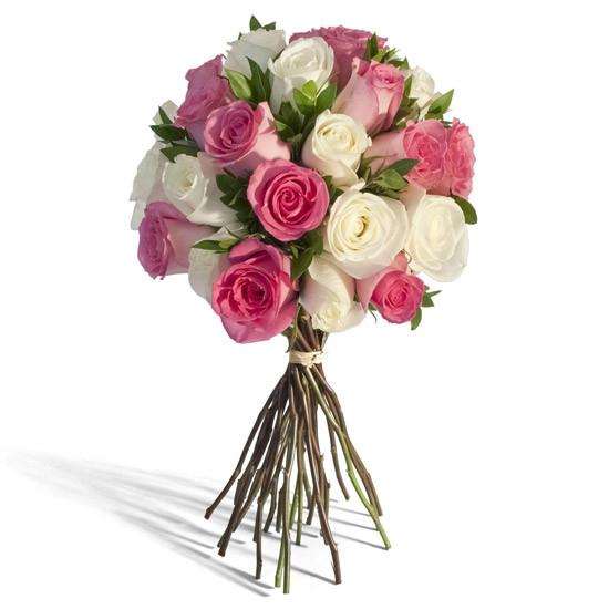 PINK & WHITE ROSES BOUQUET