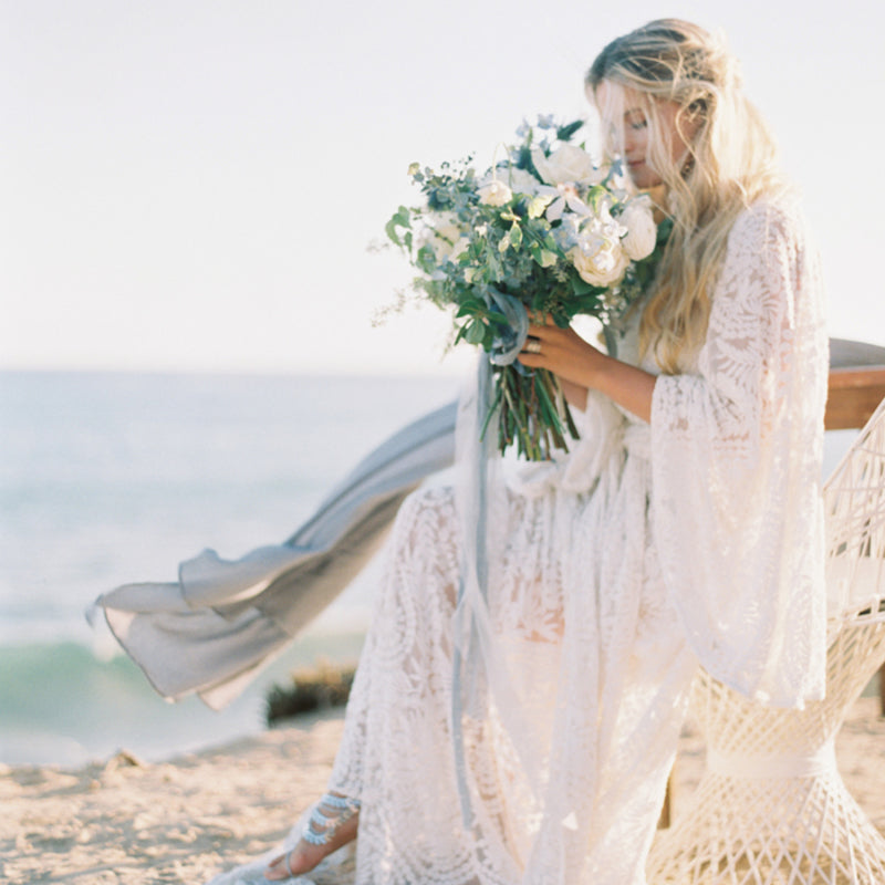 Oceanside Bohemian Editorial With Blue Rose Pictures