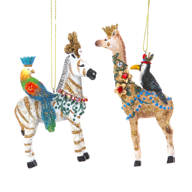 Exotic Zebra And Giraffe Christmas Decoration