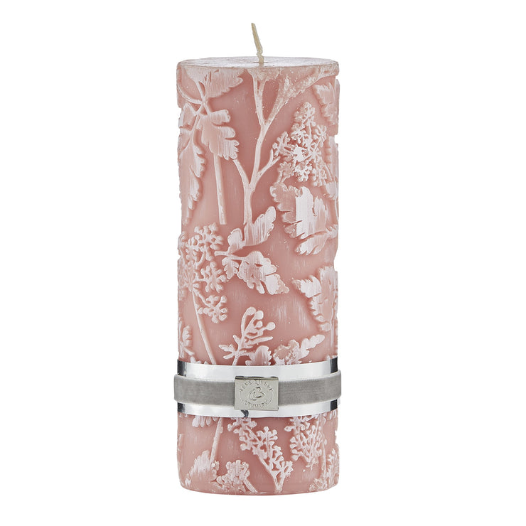 Etched Floral Candle - Mist Rose