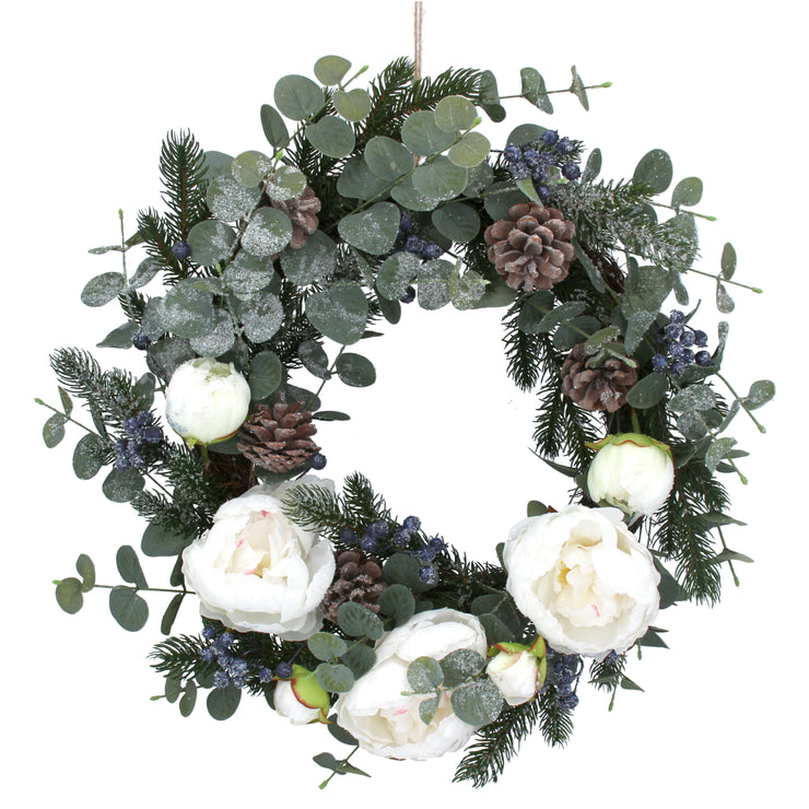 White Peony And Eucalyptus Christmas Wreath
