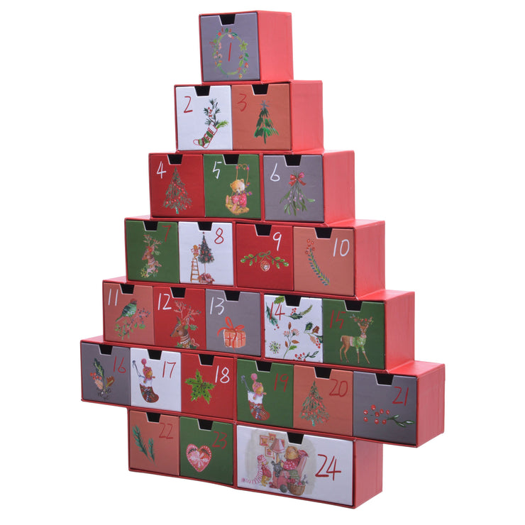Red Advent Christmas Tree With Filler Set
