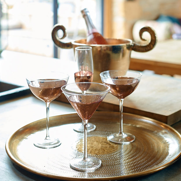 Pair Of Dipped Rose Gold Cocktail Glasses