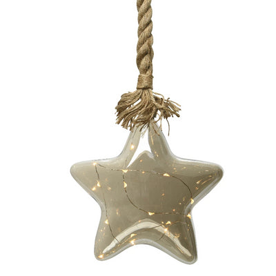 Glass Hanging Star with LED Lights