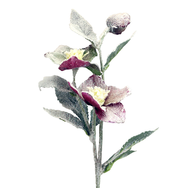 Frosted Plum Faux Hellebore Stem