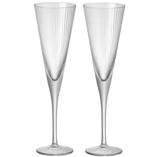 Set of Two Elegant Fluted Champagne Glasses