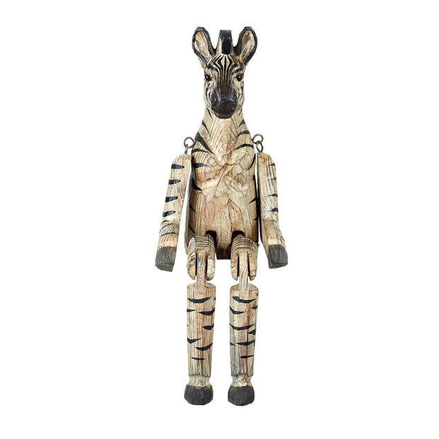 Hand Carved Wooden Zebra Decoration