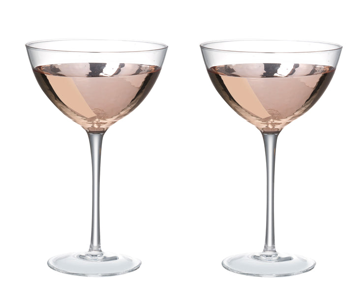 Pair Of Dipped Rose Gold Coupe Glasses