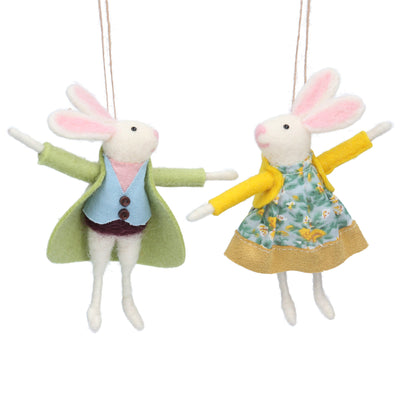Mr And Mrs Bunny Easter Hanging Decorations