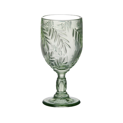 Pair Of Green Palm Leaf Wine Glasses