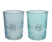 Embossed Glass Tumbler in Sea Breeze