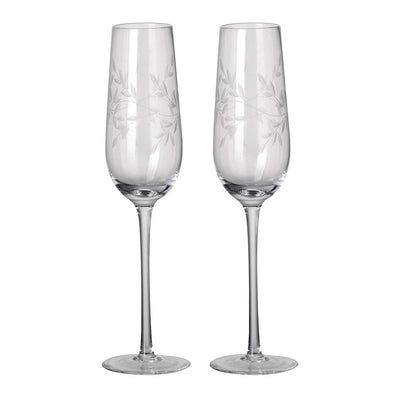 Pair Of Etched Laurel Champagne Flutes