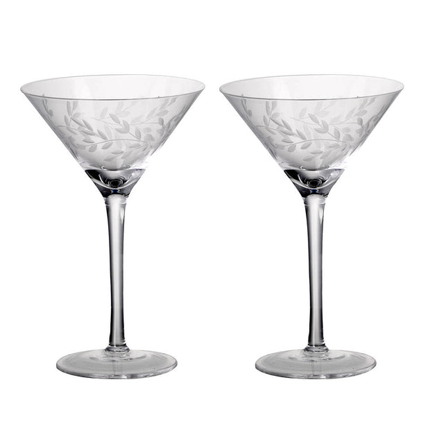 Pair Of Etched Laurel Martini Glasses - PRE ORDER