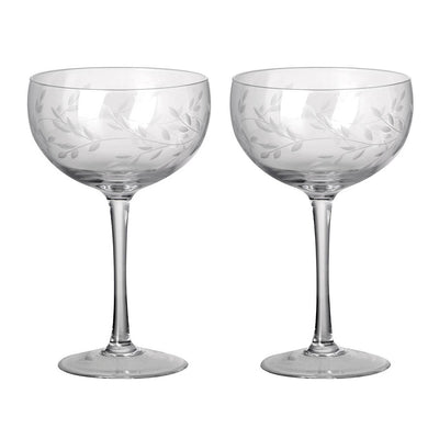 Pair Of Etched Laurel Champagne Coupes - PRE ORDER