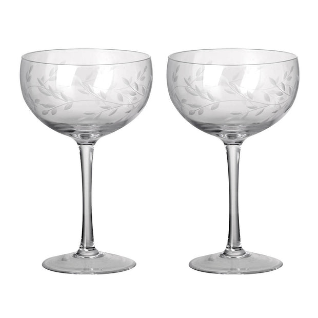 Pair Of Etched Laurel Champagne Coupes