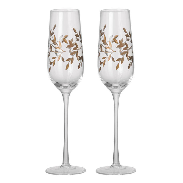 Pair Of Gold Gilded Champagne Flutes - PRE ORDER