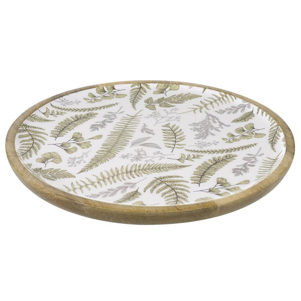Mango Wood Platter With Botannical Print