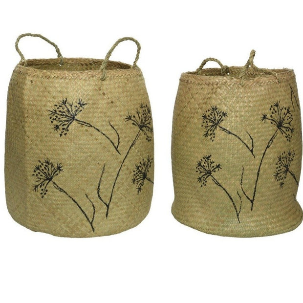 Seagrass Basket With Botanical Print