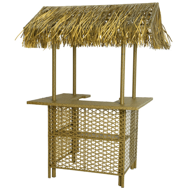 Outdoor Wicker Bar With Palm Roof