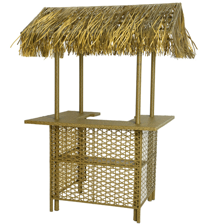 Grey Outdoor Wicker Bar With Palm Roof