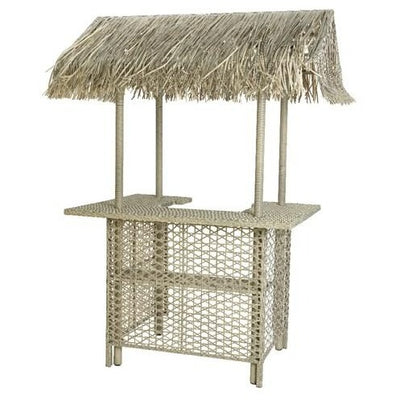 Outdoor Wicker Bar With Palm Roof - Grey